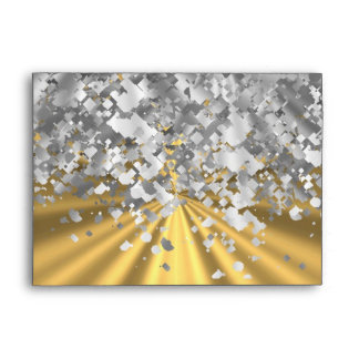Gold and faux glitter personalized envelopes