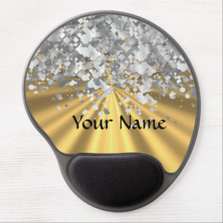 Gold and faux glitter personalized gel mouse pad