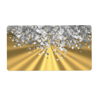 Gold and faux glitter personalized label