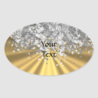 Gold and faux glitter personalized oval sticker