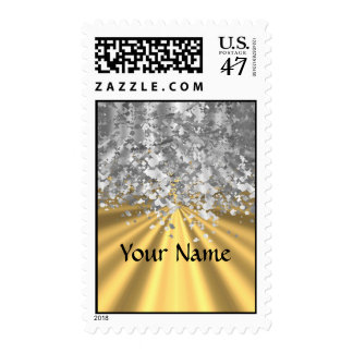 Gold and faux glitter personalized postage