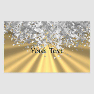 Gold and faux glitter personalized rectangular sticker