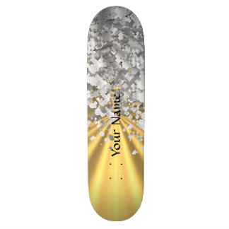 Gold and faux glitter personalized skateboard deck
