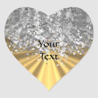 Gold and faux glitter personalized heart stickers