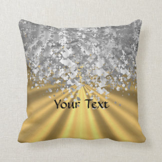 Gold and faux glitter personalized throw pillow
