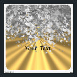 """Gold and faux glitter personalized wall decal<br><div class=""""desc"""">Easily personalize this chic elegant girly faux silver metallic glitter sparkle bling and plain golden satin look background with your custom text, name or monogram initials to make a unique sophisticated modern personalized gift. Click Customize to adjust the text / font size or style. PLEASE NOTE the gold and silver...</div>"""