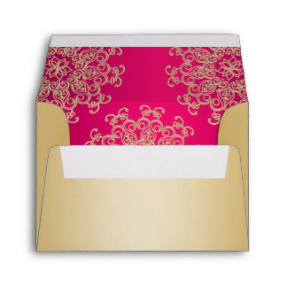 Gold and Fuchsia Indian Style Envelope