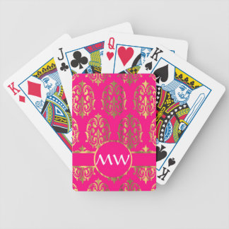 Gold and fuchsia pink damask pattern bicycle playing cards