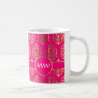 Gold and fuchsia pink damask pattern coffee mug