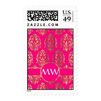 Gold and fuchsia pink damask pattern stamp