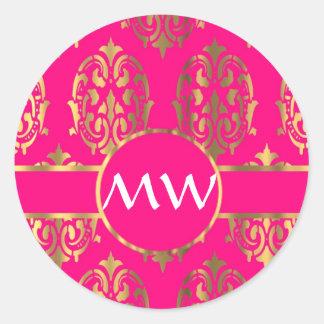 Gold and fuchsia pink damask pattern classic round sticker