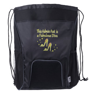 GOLD AND GLITZY ADMIN ASST SHOE LOVER DESIGN DRAWSTRING BACKPACK