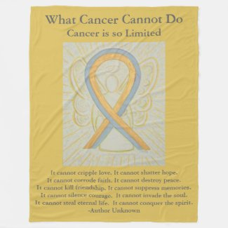 Gold and Gray Awareness Ribbon Angel Blanket