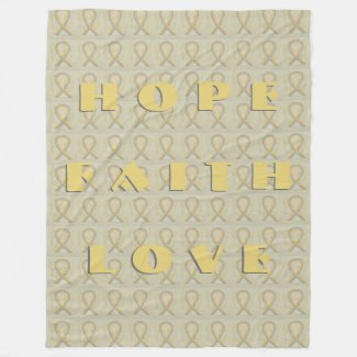 Gold and Gray Awareness Ribbon Angel Blankets