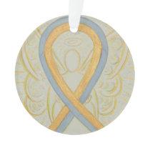 Gold and Gray Awareness Ribbon Angel Ornament