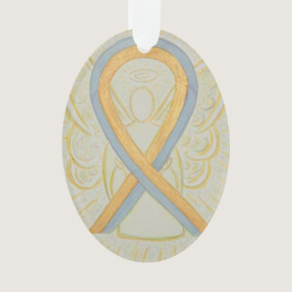Gold and Gray Awareness Ribbon Angel Ornament