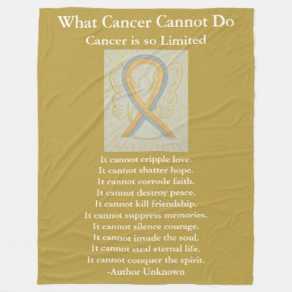 Gold and Gray Awareness Ribbon Art Fleece Blankets