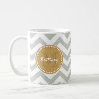 Gold and Gray Classic Chevron & Custom Monogram Coffee Mug