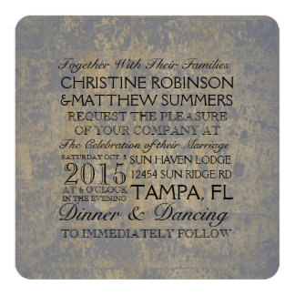 Gold and Gray Distressed Wedding Card