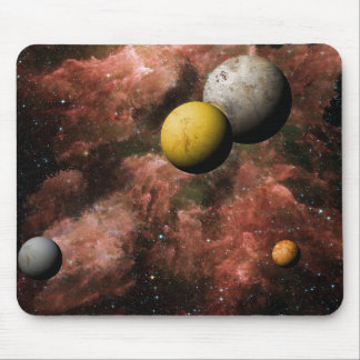 Gold And Gray Space Planets Mouse Pad