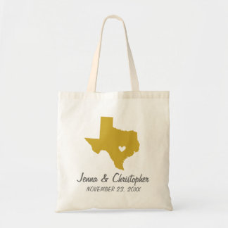 Gold and Gray Texas Wedding Welcome Tote Bag
