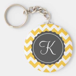 Gold and Gray Zig Zag Custom Initial Basic Round Button Keychain