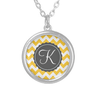 Gold and Gray Zig Zag Custom Initial Round Pendant Necklace