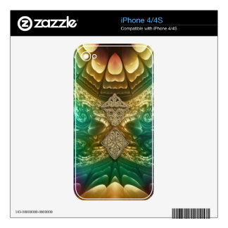 Gold and Green Abstract Fractal Skin iPhone 4 Decals