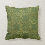 Gold and green celtic pillow