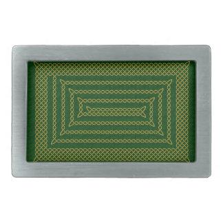 Gold And Green Celtic Rectangular Spiral Belt Buckle