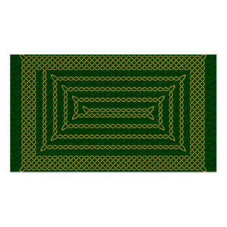 Gold And Green Celtic Rectangular Spiral Double-Sided Standard Business Cards (Pack Of 100)