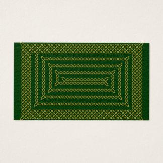Gold And Green Celtic Rectangular Spiral Business Card