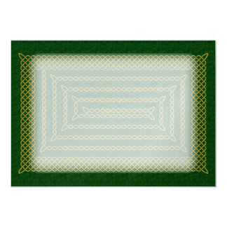 Gold And Green Celtic Rectangular Spiral Card