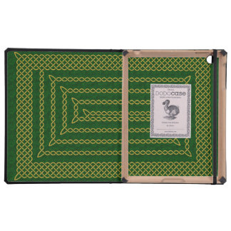Gold And Green Celtic Rectangular Spiral Cases For iPad