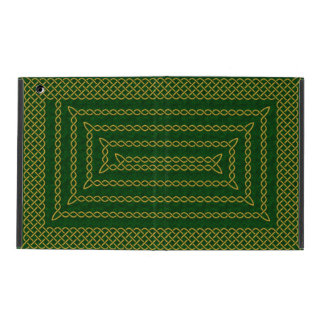 Gold And Green Celtic Rectangular Spiral iPad Folio Cases