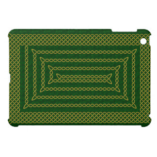 Gold And Green Celtic Rectangular Spiral iPad Mini Covers