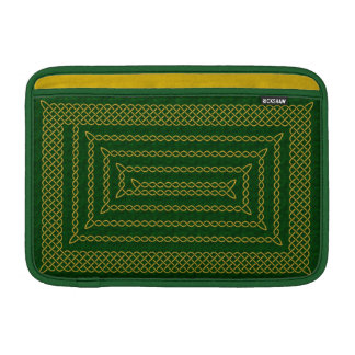 Gold And Green Celtic Rectangular Spiral Sleeves For MacBook Air