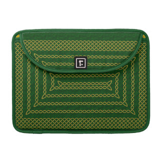 Gold And Green Celtic Rectangular Spiral Sleeves For MacBook Pro