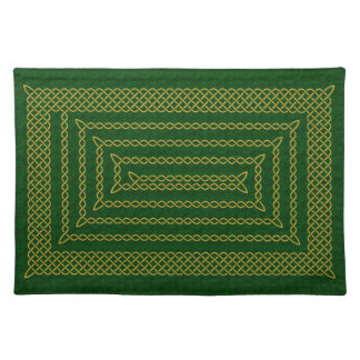 Gold And Green Celtic Rectangular Spiral Placemat