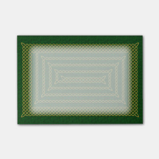 Gold And Green Celtic Rectangular Spiral Post-it Notes