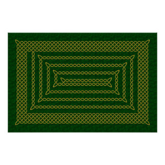 Gold And Green Celtic Rectangular Spiral Poster