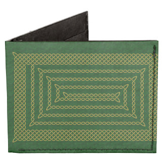 Gold And Green Celtic Rectangular Spiral Tyvek® Billfold Wallet