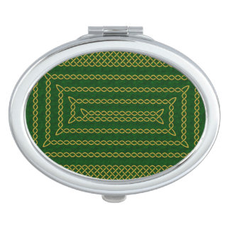 Gold And Green Celtic Rectangular Spiral Vanity Mirrors