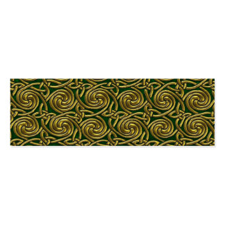 Gold And Green Celtic Spiral Knots Pattern Business Cards