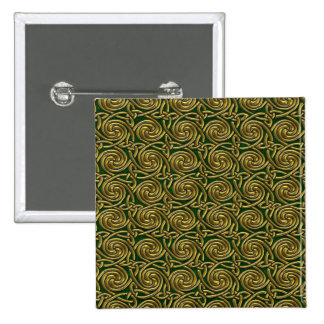 Gold And Green Celtic Spiral Knots Pattern Buttons