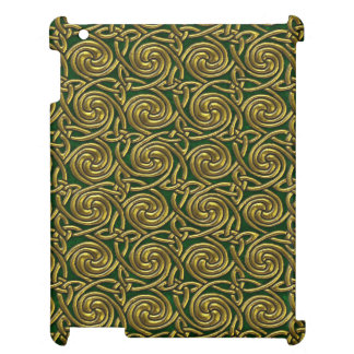 Gold And Green Celtic Spiral Knots Pattern Cover For The iPad 2 3 4