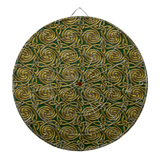 Gold And Green Celtic Spiral Knots Pattern Dartboard With Darts