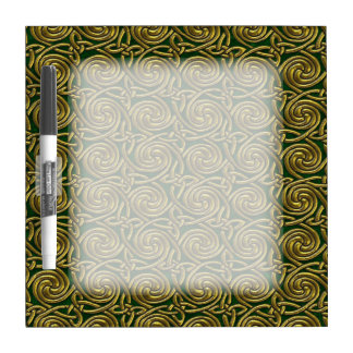 Gold And Green Celtic Spiral Knots Pattern Dry-Erase Board