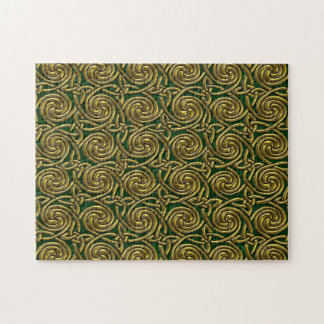 Gold And Green Celtic Spiral Knots Pattern Jigsaw Puzzle
