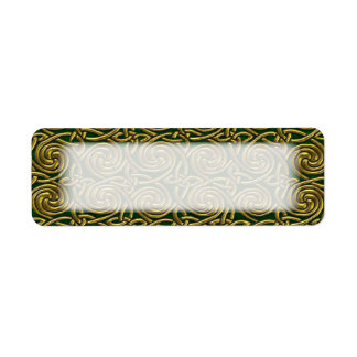 Gold And Green Celtic Spiral Knots Pattern Label